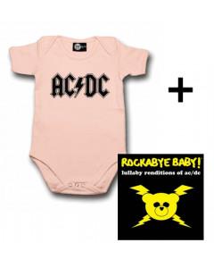 Gavesæt AC/DC Baby Pink-babybody & AC/DC Rockabyebaby-cd