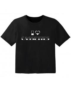 cool T-shirt til børn I love cassetes