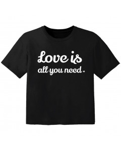 cool T-shirt til børn love is all you need